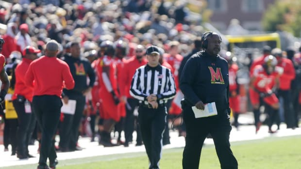Maryland head coach Michael Locksley walks onto the field during a timeout in the first quarter of a NCAA football game, Saturday, Oct. 12, 2019 at Ross-Ade Stadium in West Lafayette. Cfb Purdue Vs Maryland