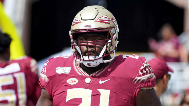 Aug 31, 2019; Tallahassee, FL, USA; Florida State Seminoles defensive tackle Marvin Wilson (21) before the start of the game against the Boise State Broncos at Doak Campbell Stadium.