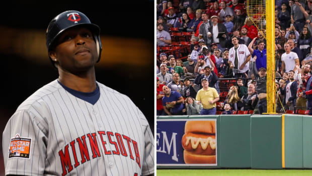 Split image of Torii Hunter in a Twins uniform and Boston Red Sox fans