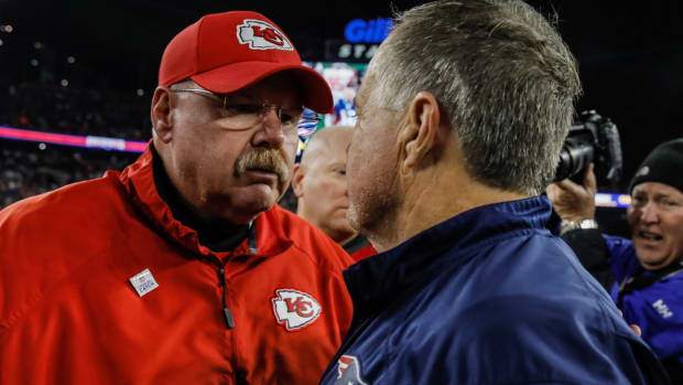 Oct 14, 2018; Foxborough, MA, USA; Kansas City Chiefs head coach Andy Reid meets New England Patriots head coach Bill Belichick on the field after the game at Gillette Stadium. The Patriots defeated Kansas City 43-40. Mandatory Credit: David Butler II-USA TODAY Sports