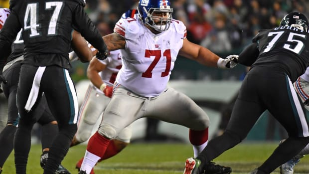 Dec 9, 2019; Philadelphia, PA, USA; New York Giants offensive guard Will Hernandez (71) blocks against the Philadelphia Eagles at Lincoln Financial Field.