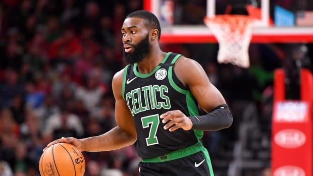 Boston Celtics' Jaylen Brown dribbles