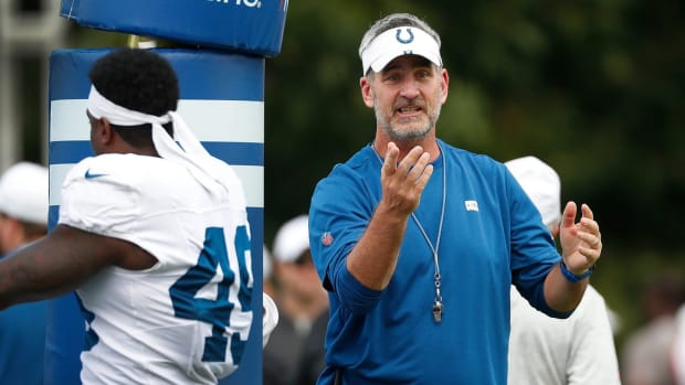 Indianapolis Colts head coach Frank Reich, shown during 2019 training camp, says rookies will report to the team facility on July 22 with the entire team on site on July 28.