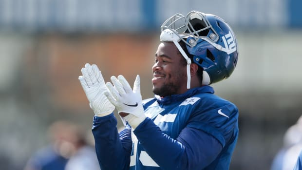 Jul 25, 2019; East Rutherford, NJ, USA; New York Giants defensive end B.J. Hill (95) reacts during the first day of training camp at Quest Diagnostics Training Center.