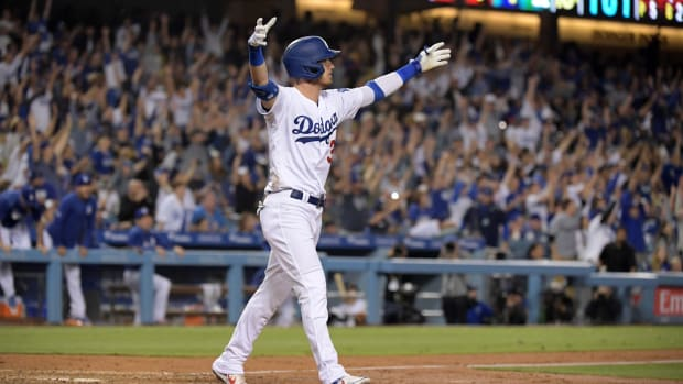 Jul 3, 2019; Los Angeles, CA, USA; Los Angeles Dodgers first baseman Cody Bellinger (35) celebrates after hitting a walk-off solo home run in the tenth inning against the Arizona Diamondbacks at Dodger Stadium. Mandatory Credit: Kirby Lee-USA TODAY Sports