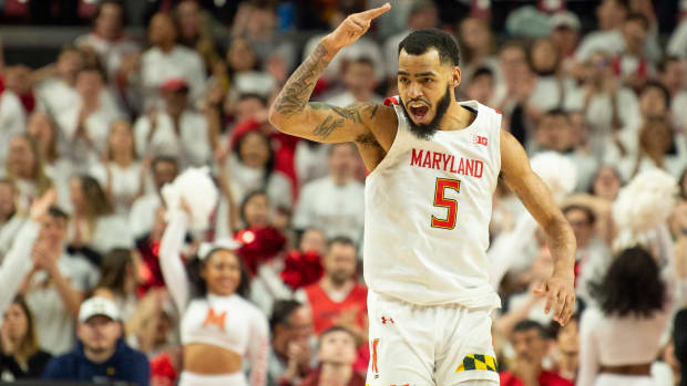 Mar 8, 2020; College Park, Maryland, USA; Maryland Terrapins guard Eric Ayala (5) reacts after making a three point shot during the second half against the Michigan Wolverines at XFINITY Center. Mandatory Credit: Tommy Gilligan-USA TODAY Sports
