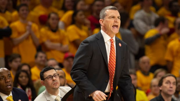 Mar 8, 2019; College Park, MD, USA; Maryland Terrapins head coach Mark Turgeon reacts during the first half against the Minnesota Golden Gophers at XFINITY Center. Mandatory Credit: Tommy Gilligan-USA TODAY Sports