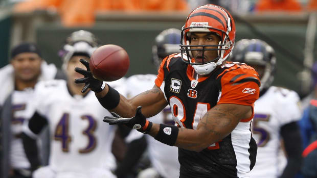 November 30, 2008: The Cincinnati Bengals T.J. Houshmandzadeh makes a second-quarter touchdown against the Baltimore Ravens at Paul Brown Stadium. Bengals 9