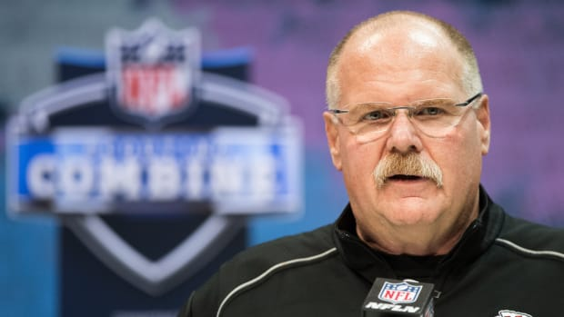 Feb 25, 2020; Indianapolis, Indiana, USA; Kansas City Chiefs head coach Andy Reid speaks to the media during the 2020 NFL Combine in the Indianapolis Convention Center. Mandatory Credit: Trevor Ruszkowski-USA TODAY Sports
