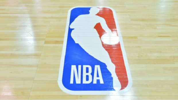 A general view of the NBA logo painted on a court.