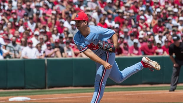 Mississippi Rebels pitcher Gunnar Hoglund (17) throws a pitch during the game against the Arkansas Razorbacks at Baum-Walker Stadium. Mandatory Credit: Brett Rojo-USA TODAY Sports