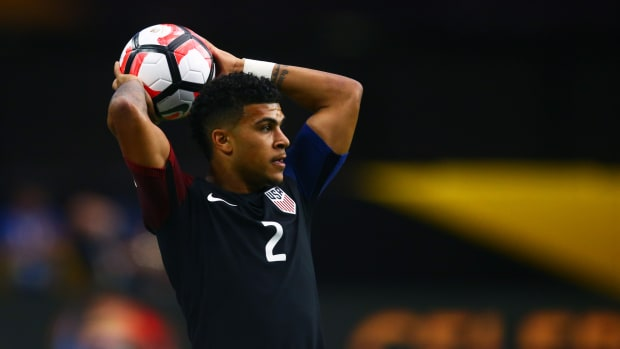 United States midfielder DeAndre Yedlin against Colombia during the third place match of the 2016 Copa America Centenario soccer tournament at University of Phoenix Stadium