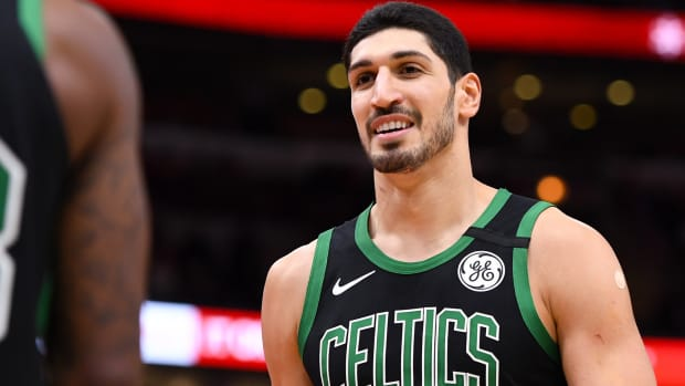 Boston Celtics center Enes Kanter reacts against the Chicago Bulls during the second half at the United Center.