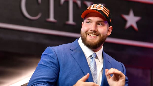 Jonah Williams celebrates his pick by the Cincinnati Bengals during the first round of the NFL Draft Thursday, April 25, 2019, in Nashville, Tenn.