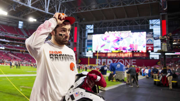 Dec 15, 2019; Glendale, AZ, USA; Cleveland Browns quarterback Baker Mayfield (6) reacts as he leaves the field following the game against the Arizona Cardinals at State Farm Stadium. Mandatory Credit: Mark J. Rebilas-USA TODAY Sports