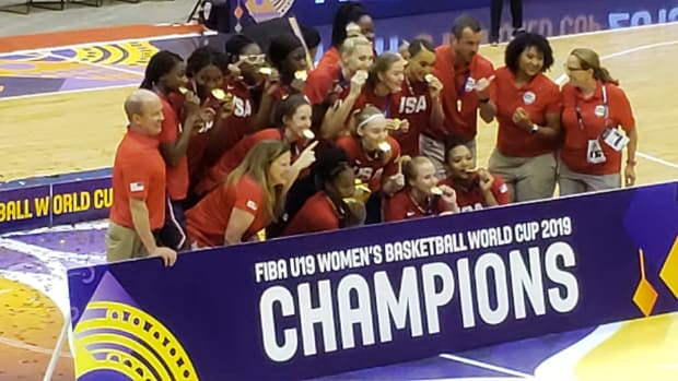 USA Basketball celebrates a U-19 gold medal victory over Australia in the 2019 FIBA World Cup.