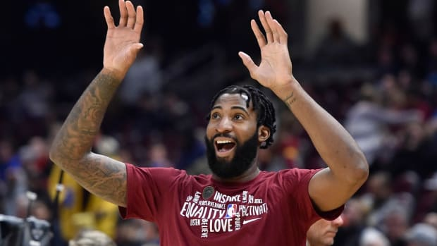 Cleveland Cavaliers center Andre Drummond reacts before a game against the Atlanta Hawks at Rocket Mortgage FieldHouse.