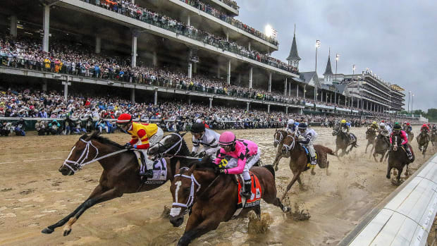 Fans watch the 145th running of the Kentucky Derby.