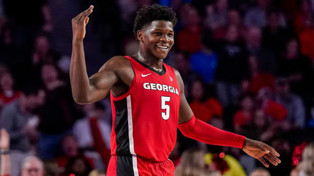 Georgia Bulldogs guard Anthony Edwards reacts after making a three point shot