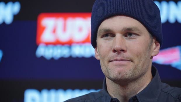 Closeup of Tom Brady at his final press conference with the Patriots