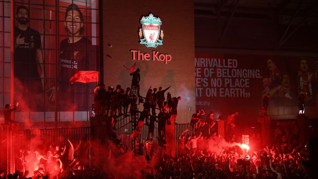 Liverpool fans celebrate at Anfield