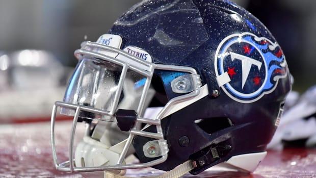 Tennessee Titans helmet on the side line during the second half against the Minnesota Vikings at Nissan Stadium.