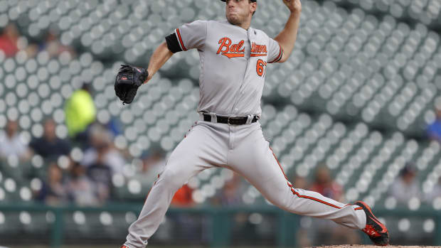 Baltimore Orioles starting pitcher John Means (67) throws the ball against the Detroit Tigers during the first inning at Comerica Park.