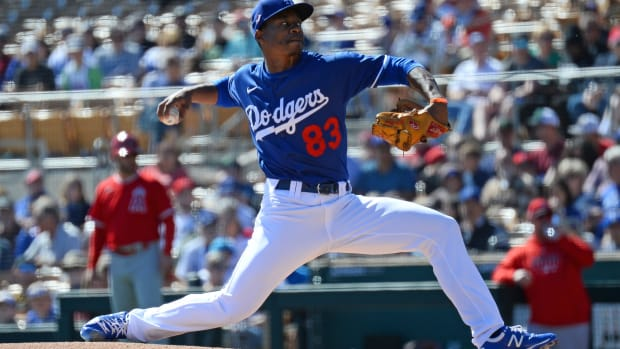 Feb 26, 2020; Phoenix, Arizona, USA; Los Angeles Dodgers pitcher Josiah Gray pitches against the Los Angeles Angels during the first inning of a spring training game at Camelback Ranch. Mandatory Credit: Joe Camporeale-USA TODAY Sports