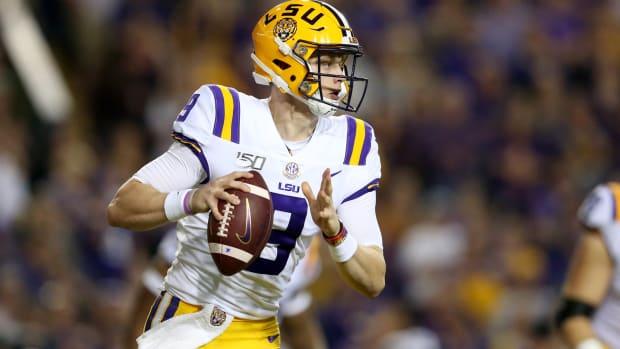 Nov 30, 2019; Baton Rouge, LA, USA; LSU Tigers quarterback Joe Burrow (9) drops back to throw against the Texas A&M Aggies at Tiger Stadium. Mandatory Credit: Chuck Cook-USA TODAY Sports