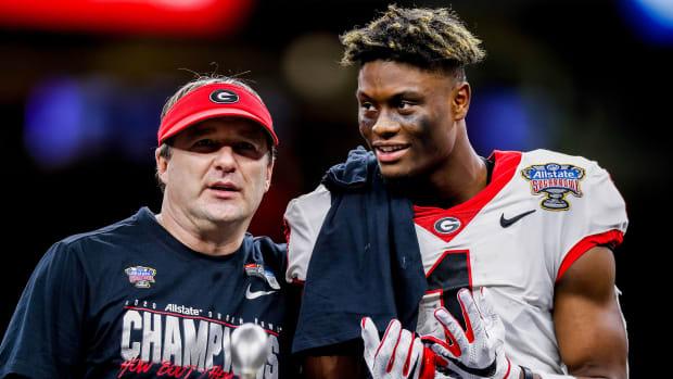 Georgia football coach Kirby Smart and WR George Pickens