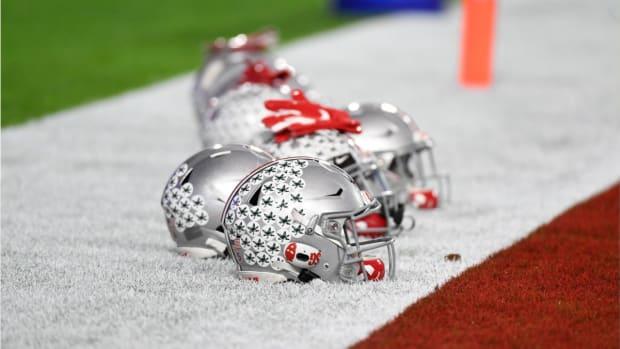 Ohio State Football helmets at Fiesta Bowl