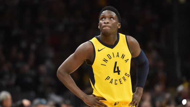 Indiana Pacers guard Victor Oladipo looks up at the scoreboard during a game against the Cleveland Cavaliers at Rocket Mortgage FieldHouse.