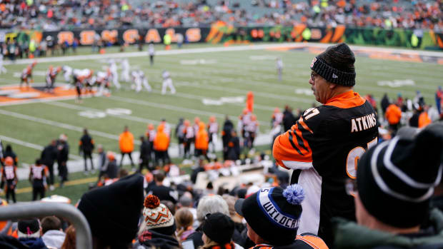 Fans watch in the first quarter of the NFL Week 13 game between the Cincinnati Bengals and the New York Jets at Paul Brown Stadium in downtown Cincinnati on Sunday, Dec. 1, 2019. The Bengals led 17-6 at halftime. New York Jets At Cincinnati Bengals