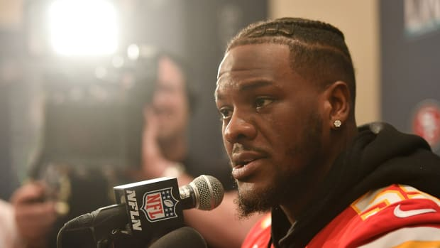 Jan 28, 2020; Miami, Florida, USA; Kansas City Chiefs defensive end Frank Clark (55) speaks with the media at the JW Marriott Turnberry. Mandatory Credit: Jasen Vinlove-USA TODAY Sports