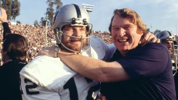 Kenny Stabler and John Madden after winning the Super Bowl