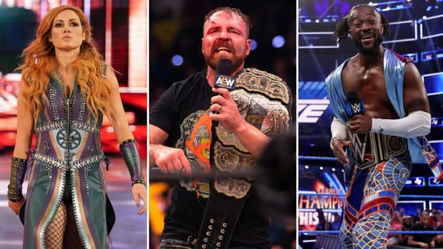 Collage of WWE's Becky Lynch, AEW's Jon Moxley and WWE's Kofi Kingston
