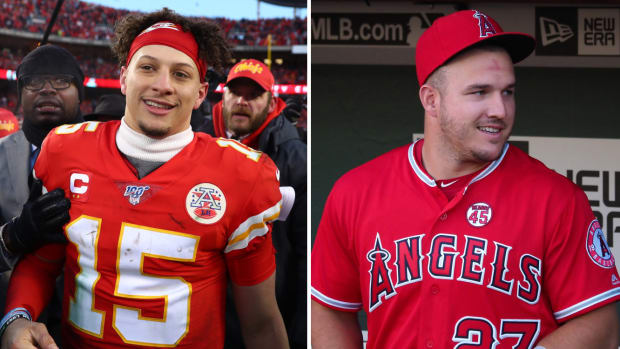 Side-by-side image of Patrick Mahomes and Mike Trout