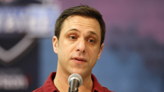 Feb 28, 2019; Indianapolis, IN, USA; Kansas City Chiefs general manager Brett Veach speaks to the media during the 2019 NFL Combine at the Indianapolis Convention Center. Mandatory Credit: Brian Spurlock-USA TODAY Sports