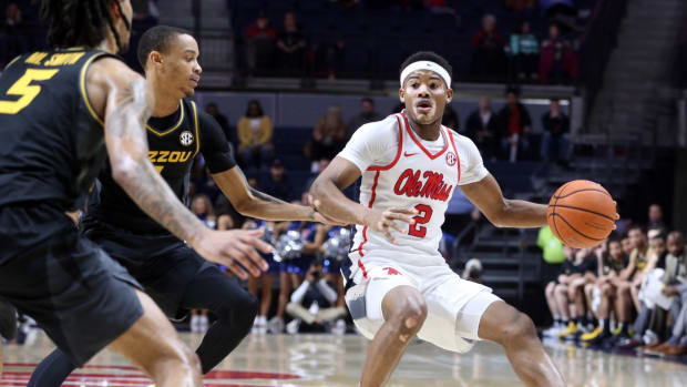 Mississippi Rebels guard Devontae Shuler (2) dribbles as Missouri Tigers guard Xavier Pinson (1) defends during the second half at The Pavilion at Ole Miss. Mandatory Credit: Petre Thomas-USA TODAY Sports