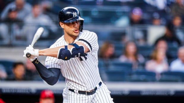 New York Yankees' Giancarlo Stanton at bat