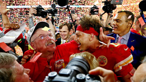 Feb 2, 2020; Miami Gardens, Florida, USA; Kansas City Chiefs quarterback Patrick Mahomes (15) and head coach Andy Reid celebrate after beating the San Francisco 49ers in Super Bowl LIV at Hard Rock Stadium. Mandatory Credit: Matthew Emmons-USA TODAY Sports