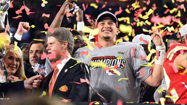 Feb 2, 2020; Miami Gardens, Florida, USA; Kansas City Chiefs quarterback Patrick Mahomes (15) celebrates after defeating the San Francisco 49ers in Super Bowl LIV at Hard Rock Stadium. Mandatory Credit: Robert Deutsch-USA TODAY Sports