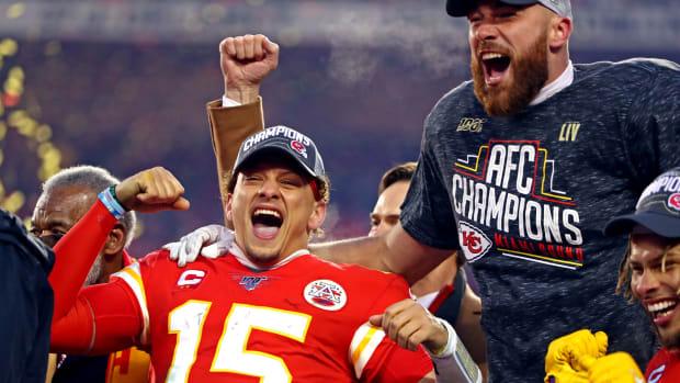 Jan 19, 2020; Kansas City, Missouri, USA; Kansas City Chiefs quarterback Patrick Mahomes (15) celebrates after beating the Tennessee Titans in the AFC Championship Game at Arrowhead Stadium. Mandatory Credit: Mark J. Rebilas-USA TODAY Sports