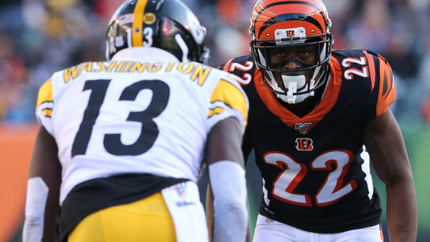 Cincinnati Bengals cornerback William Jackson (22) lines up to defend against Pittsburgh Steelers wide receiver James Washington (13) in the third quarter of an NFL Week 12 game, Sunday, Nov. 24, 2019, at Paul Brown Stadium in Cincinnati. The Pittsburgh Steelers won 16-10, and the Cincinnati Bengals fell to 0-11 on the season. Pittsburgh Steelers At Cincinnati Bengals Nov 24