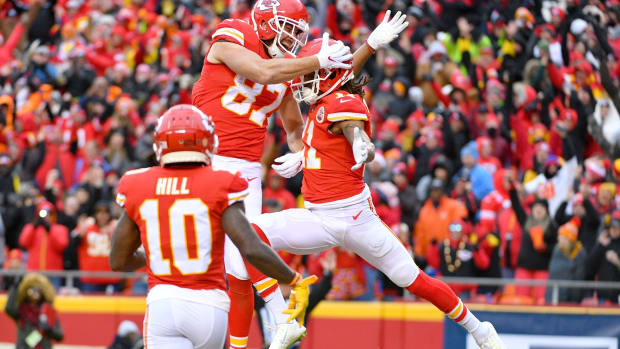 Dec 29, 2019; Kansas City, Missouri, USA; Kansas City Chiefs wide receiver Demarcus Robinson (11) celebrates with tight end Travis Kelce (87) after Robinson's touchdown during the first half against the Los Angeles Chargers at Arrowhead Stadium. Mandatory Credit: Denny Medley-USA TODAY Sports