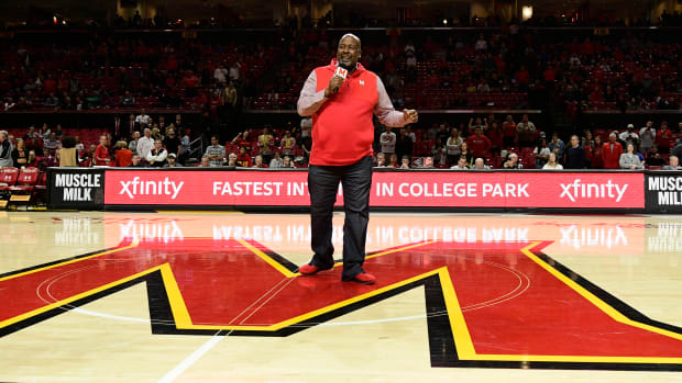 Dec 11, 2018; College Park, MD, USA; Maryland Terrapins head football coach Mike Locksley speaks to the crowd during half time of the men's basketball game against the Loyola (Md) Greyhounds at XFINITY Center. Mandatory Credit: Tommy Gilligan-USA TODAY Sports