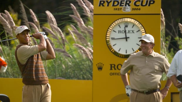 Tiger Woods and Phil Mickelson at the 2006 Ryder Cup.