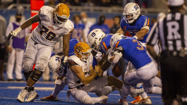 Sep 10, 2021; Boise, Idaho, USA; Boise State Broncos linebacker Brandon Hawkins (3) strips the ball from UTEP Miners quarterback Calvin Brownholtz (7) during the second half at Albertsons Stadium. Boise State beat UTEP 54-13. Mandatory Credit: Brian Losness-USA TODAY Sports