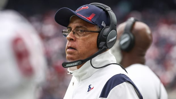 Closeup of Texans coach David Culley on the sidelines