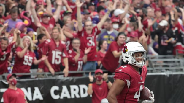 Arizona Cardinals wide receiver Rondale Moore (4) celebrates his touchdown catch and run against the Minnesota Vikings during the second quarter in Glendale, Ariz. Sept. 19, 2021.  Cardinals Vs Vikings
